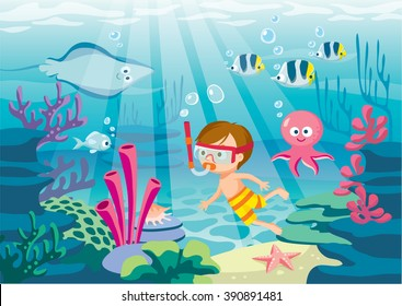 underwater life with boy diving, cute octopus, fish, skate and coral reef