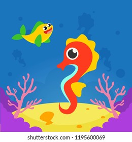Underwater life cartoon vector illustration