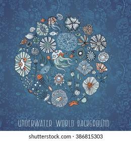 underwater life with jellyfish, fish, seaweed, vector