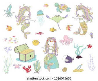 Underwater life. Mermaids and sea animals. Cartoon vector illustration on a white background