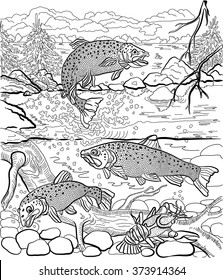 Underwater life on the river. Trout and cancer swim under water. In the background depicts a forest landscape. Hand drawn. Coloring page.