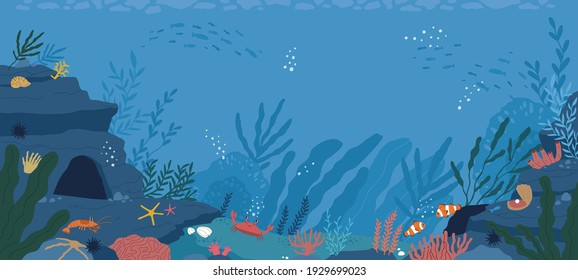 Underwater life at sea or ocean bottom. Exotic undersea world with coral reef, seaweeds and aquatic habitats in depth. Colored flat cartoon vector illustration of scenic marine landscape or seascape