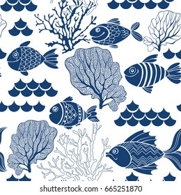 Underwater life. Seamless vector pattern with hand-drawn fishes and marine plants. Marine cartoon background.