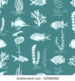 Underwater life vector background in blue color. Silhouettes of corals, seaweeds and fish seamless pattern