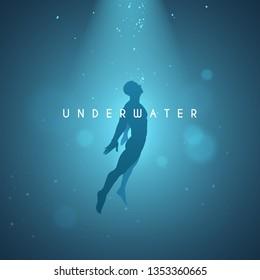 Underwater man illustration