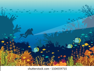Underwater marine life - silhouette of scuba diver and beautiful coral reef with school of fishes on a blue sea. Vector nature illustration.