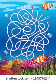 Underwater maze with clown fish illustration