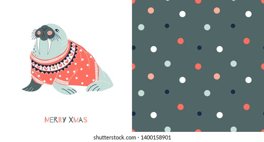Underwater Merry Christmas concept graphics set in decorative Scandinavian style. Funny Christmas Walrus in coral jacquard sweater vector illustration. Simple flat multicolour polka dots seamless