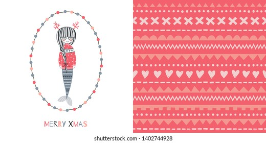 Underwater Merry Christmas concept graphics set in decorative Scandinavian style. Magical Xmas Mermaid in jacquard sweater. vector illustration. Simple doodle jacquard ornament background.