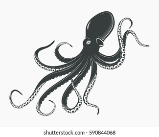 Underwater monster with suction cups, cartoon octopus with tentacles. Octopoda and swimming ocean cuttlefish, aquarium or sea spineless mollusk. Animal and zoology, tattoo or mascot theme