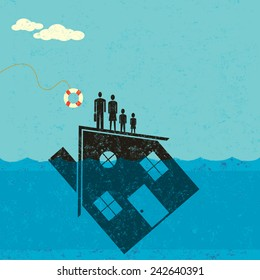 Underwater Mortgage Help A family floating on their house, which is partially underwater in the ocean, about to be saved by a life preserver.