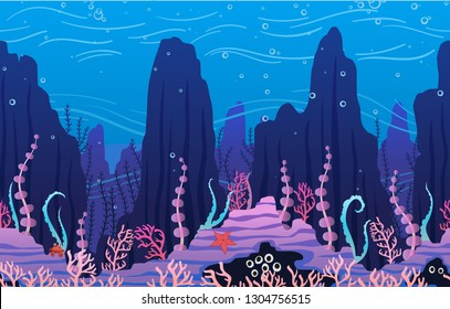 Underwater nature background with plants. Parallax ready vector Illustration