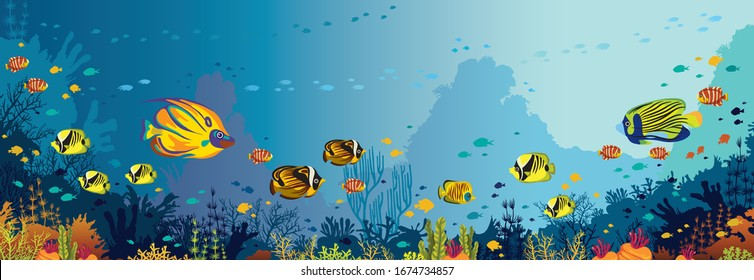 Underwater nature and marine wildlife. School of tropical fishes and coral reef on a blue sea background. Vector ocean panoramic illustration.