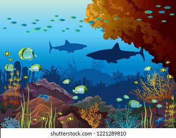 Underwater nature and marine wildlife. Silhouette of sharks, school of tropical fishes and coral reef on a blue sea background. Vector ocean illustration.