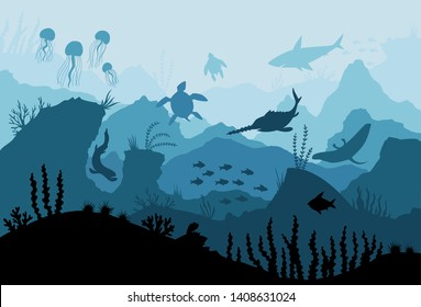 Underwater ocean fauna. Deep sea plants, fishes and animals. Marine seaweed, fish under water and animal silhouette with corals, algae seaweed cartoon vector background illustration.