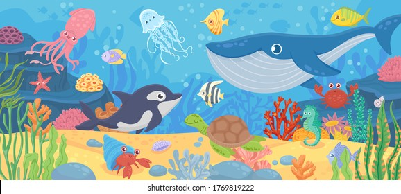 Underwater ocean life. Dolphin, exotic fishes and crab, squid. Bottom seaweeds, sea turtle and marine reef animals. Cartoon vector seascape with reef and sea animal tropical illustration