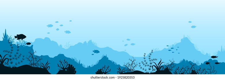 Underwater ocean world background. Black silhouettes swimming sea fish with blue outlines corals and vector plants.