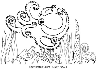 Underwater octopus cuttlefish, squid, devil . Beautiful drawings with patterns. For anti stress for adults and children coloring, emblems or tattoos.
