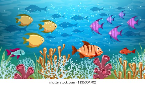 Underwater panorama. Sea under water life, cartoon ocean swimming fish, deep corals reef and sand panoramic vector illustration background