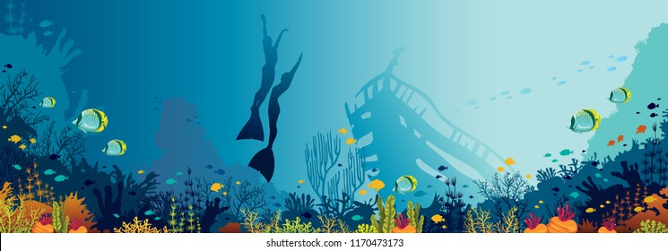 Underwater panoramic marine wildlife.  Vector nature illustration. Silhouette of two free divers and coral reef with fishes on a blue sea.
