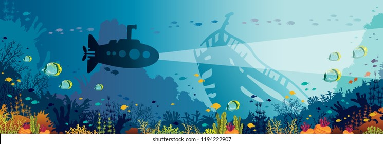 Underwater panoramic seascape with silhouette of submarine, colorful coral reef, fishes and sunken ship. Natural vector illustration and marine life.
