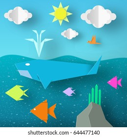 Underwater Paper Word. Undersea Life with Cut Whale, Fishes, Coral, Clouds, Sun.  Over the Sea Flying Birds. Summer Landscape. Cutout Crafted Applique. Vector Illustrations Art Design.