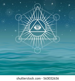 Underwater pyramids. Bermuda Triangle.  Sacred geometry. Esoteric symbol. A background - a sea landscape, the night star sky. Vector illustration. The place for the text.