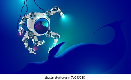 Underwater robot explores deep ocean. deep-water small submarine with robotic arms immersed on seabed. Man in bathyscaphe controls robotics manipulators. Deep spotlights illuminate blue whale.