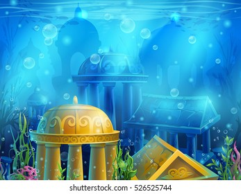 Underwater ruins with a set of elements.For print, create videos or web graphic design, user interface, card, poster.