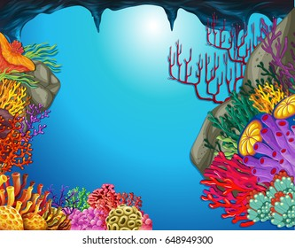 Underwater scene with coral reef in cave illustration