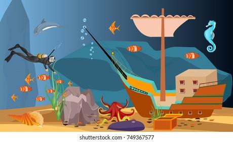 Underwater scene diver and sunken ship with treasure, vector.