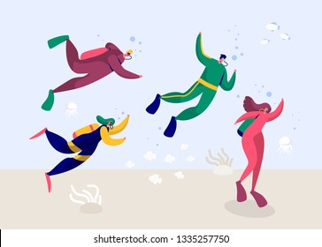 Underwater Scuba Diver Man and Woman Diving in Sea. People Deep Dive with Equipment Flippers Goggles and Oxygen Wetsuit. Summer Snorkeling with Fishes. Flat Cartoon Vector Illustration