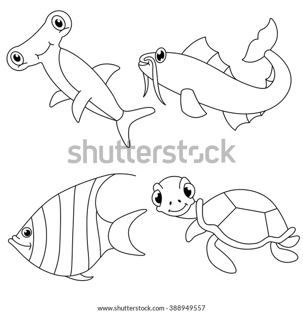 - Underwater Sea Animals Coloring Page Fishturtle Stock Vector (Royalty Free)  388949557