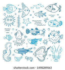 Underwater sea animals vector illustrations. Cute ocean characters for kids: fishes, seaweed, lobster, starfish blue outline doodles