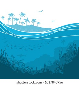 Underwater sea background with Sea waves and tropical palm island