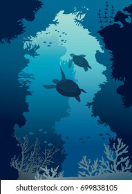 Underwater sea cave with silhouette of two turtles, coral reef and school of fishes. Deep blue marine life. Vector illustration.
