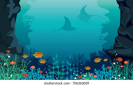 Underwater sea with colorful coral reef, fishes and silhouette of two stingrays. Vector tropical seascape.