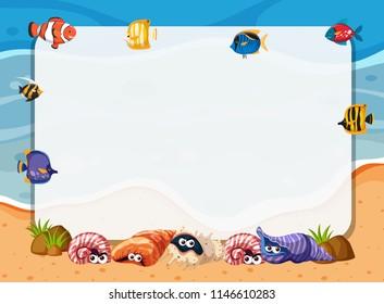 Underwater sea creatures frame concept illustration