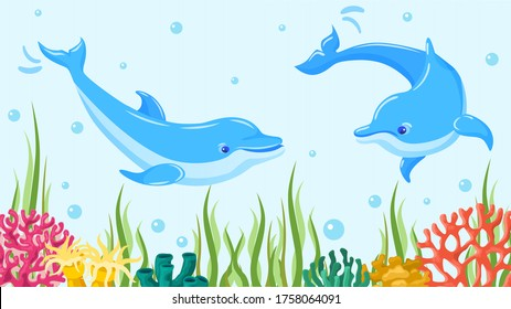 Underwater sea dolphin, vector illustration. Fish in blue ocean water, marine aquatic mammal animal. Wildlife at coral and reef, beautiful playful character swim near seaweed and plant.