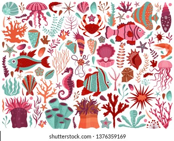 Underwater sea flora and fauna set with algae, corals, fishes, shells, and medusas on dark background. Ocean coral reef animals and plants. Tropical marine life elements collection, undersea world.