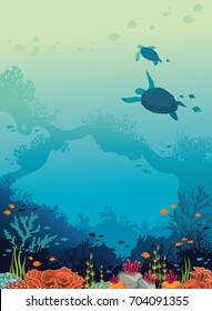 Underwater sea life - silhouette of two turtles, beautiful coral reef and school of fishes on a blue ocean background. Vector seascape illustration.