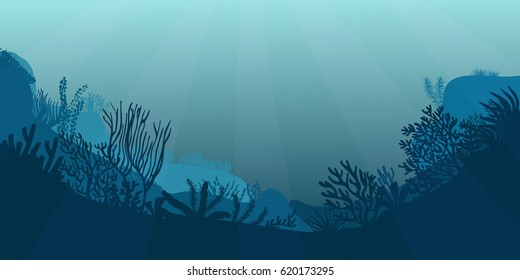 Underwater sea scene. Realistic seascape with reef. Ocean bottom silhouette of seaweed, grass, algae and corals. Beautiful marine vector illustration.
