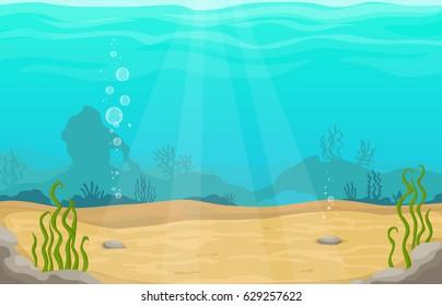Underwater sea vector cartoon landscape