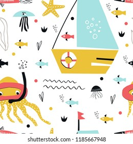 Underwater seamless pattern with boat, fish, jellyfish and octopus in an underwater mask and with a tube. Cute kids paper cut vector illustration.