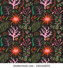 Underwater seamless pattern with coral reef flora. Marine flowers aquatic seamless background with ocean plants and seaweed.