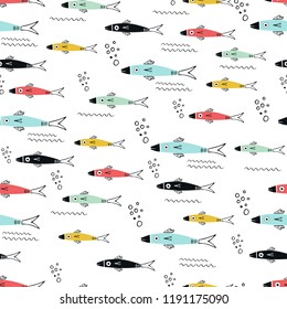 Underwater seamless pattern with different multi-colored fish. Cute kids paper cut vector illustration.