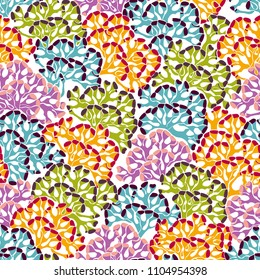 Underwater seascape background. Seamless pattern colorful corals