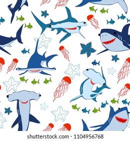 Underwater seascape background. Seamless pattern