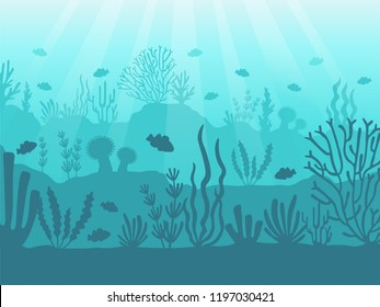 Underwater seascape. Ocean coral reef, deep sea bottom and swimming under water. Marine corals and seaweed algae, aquatic undersea marine ocean life blue cartoon background vector illustration