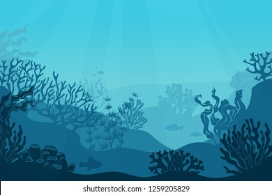 Underwater seascape. Seafloor, undersea with seaweed. Dark saltwater with corals silhouettes. Ocean reef bottom vector background